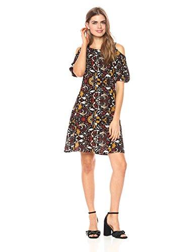 Printed Bubble Sleeve Dress - 1