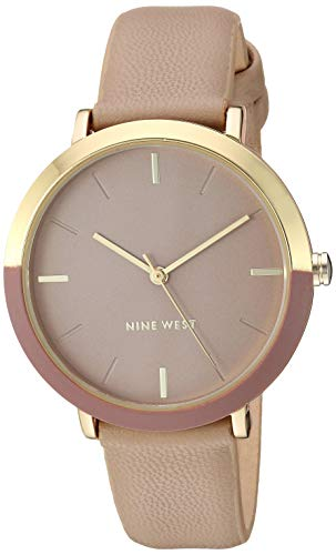 Nine West Women's Gold-Tone and Tan Strap Watch, NW/2346GPTN