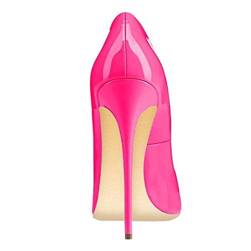 Fsj Mujeres Come-hither Bombas De Tacón De Aguja Con Punta Estrecha Zapatos De Fiesta De Tacones Altos Tamaño 4-15 Us Hot Pink