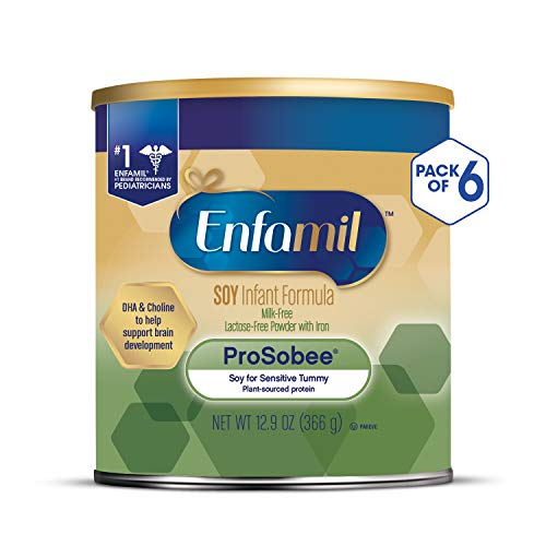 Enfamil ProSobee Soy Sensitive Tummy Baby Formula Dairy-Free Lactose-Free Milk-Free Plant Protein Powder Can 12.9 oz (Pack of 6 Cans ) Omega 3 DHA & Iron, Immune & Brain Support