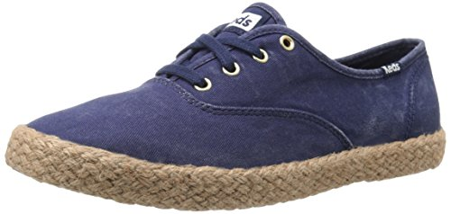 Keds Donna Campione Lavato In Juta Moda Sneaker Peacoat Blu Marino