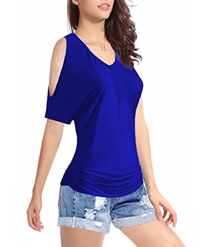 TTI Womens V-neck 1/2 Sleeves Waist folds Cotton Top Tee (Medium, Blue)