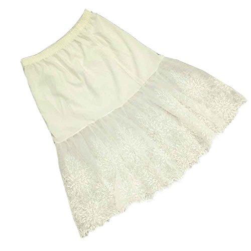 EULAGPRE Femmes Jupe En Dentelle Slip Extender Longueur Genou Jupe Florale Petticoat Jupon 1white