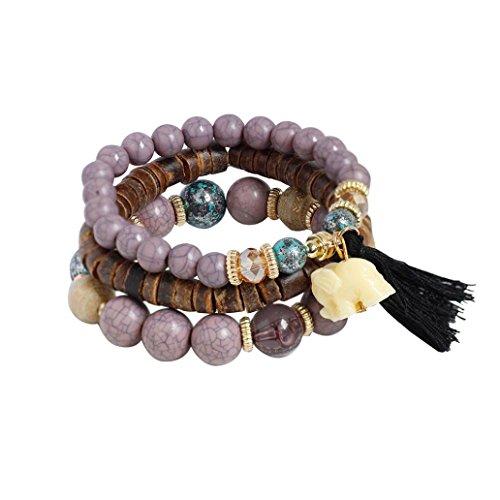 - Molyveva Boho Wholesale Multilayer Acrylic Beads Beach Bracelet with Elephant Pendant Charm Bracelets (Purple)