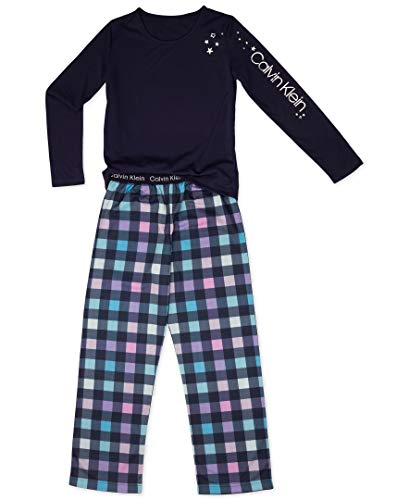 Pj Set Check (Calvin Klein Little Girls' 2 Piece Sleepwear Top and Bottom Pajama Set Pj, Long Sleeve-Symphony, CK Navy Check, Small-6/6X)