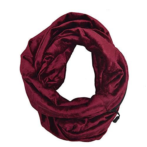 Unisex Winter Velvet Warm Loop Zipper Secret Pocket Infinity Scarf Shawl Ring by Teresamoon -