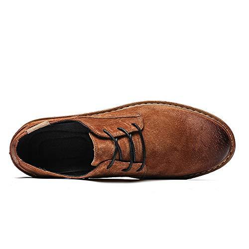 piatte EU Retro 44 Lace Resistente Cachi Toe Color formali Color Marrone Dimensione all'abrasione Scarpe Sunny Oxford Brush amp;Baby Men's Casual Round Business wxXRBqOXF