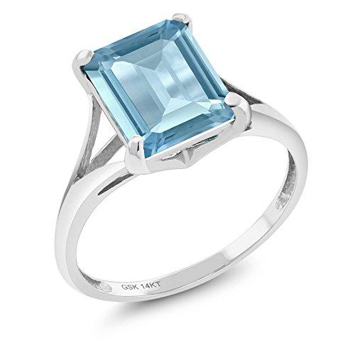 Gem Stone King 14K White Gold Sky Blue Topaz Gemstone Birthstone 4.00 Ct Emerald Cut Women's Ring (Size - Ct White Gold Topaz Blue 14k 4 Ring