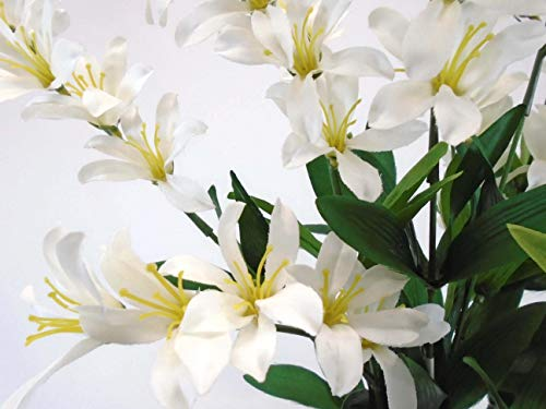 "Freesia Bush Artificial Silk Flowers 9-6218CR 21"" Bouquet Cream"