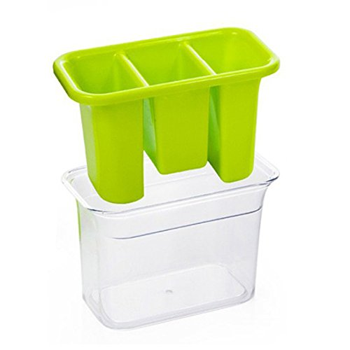 Plastic Utensil Holder,  Caddy Silverware Organizer With 3 Compartment And Cutlery Tray Drainer Set,  Flatware Spoon Fork Storage Basket,  For Kitchen Countertop, Party, Table, Picnic, Outdoor, Green