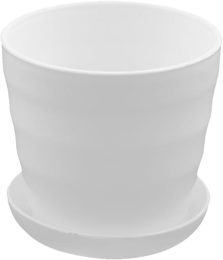 sourcing map Jardín de plástico decoración flor planta maceta titular 9 cm diámetro blanco w bandeja Blanco
