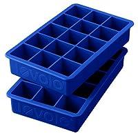 """Bandejas de hielo Tovolo Perfect Cube, silicona resistente, resistente a la decoloración, azul estrato, cubos de 1.25 """"- Juego de 2"""