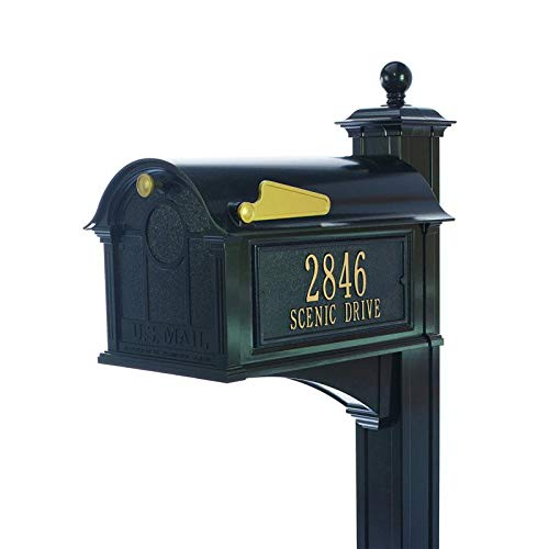 (Whitehall Products Aluminum Balmoral Mailbox Side Plaques Post Package (Black))