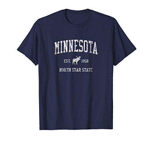 Minnesota T-Shirt Vintage Sports MN Moose Design Tee