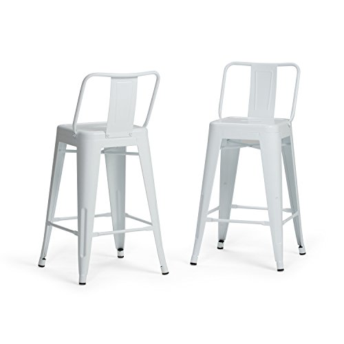 Simpli Home AXCRAY24-01-WH Rayne Industrial Metal 24 inch Counter Height Stool (Set of 2) in - Stool Attack