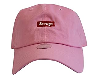 Savage Box Logo Pink Text Emoji Meme Twill Cotton Low Profile Lil Uzi Vert Dad Hat Cap