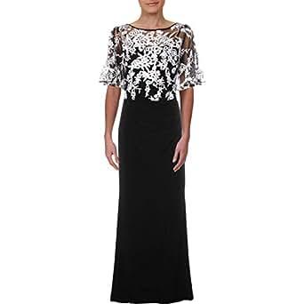 RALPH LAUREN Womens Black Lace Overlay Gown Sleeveless Boat Neck Full Length Sheath Formal Dress US Size: 6