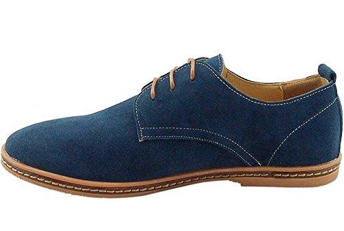 Bonways Zapatos de Cuero Casual Oxford Zapatos de Vestir Hombre Negro Azules: Amazon.es: Zapatos y complementos