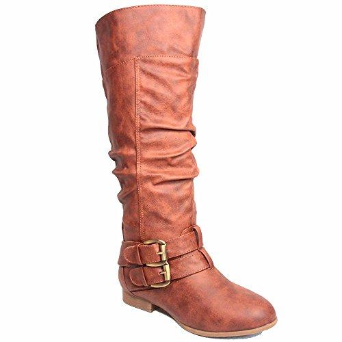 Top Moda Coco-20 Womens Fashion Round Toe Low Heel Knee High Zipper Riding Boot Shoes