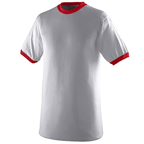 Augusta Sportswear Mens Ringer Tee Shirt, Athletic Heather/Red, Large