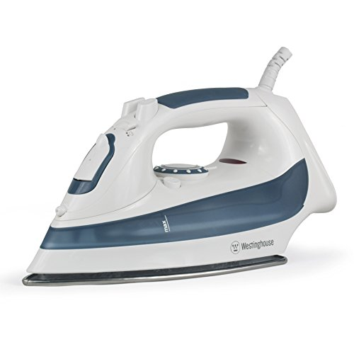 Westinghouse Professional Steam Iron with 7.4 Ounce Water Tank, 1200 Watts, Stainless Steel Soleplate, White with Dark Blue Accents by Westinghouse