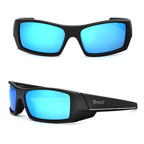 Bnus Sports shades Sunglasses polarized for men women Italian made Corning natural glass lens (Frame: Matte Black - White L / Lens: Blue Flash, - White Sunglasses Men L For