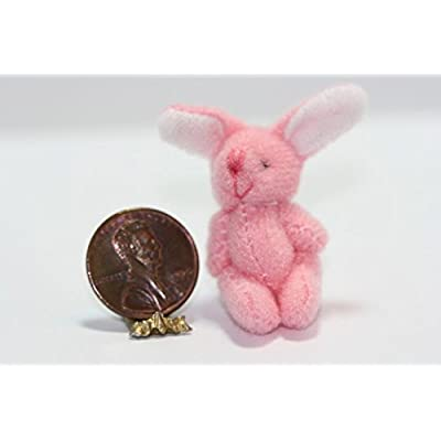 Dollhouse Miniature Toy - Adorable Little Pink Stuffed Bunny Rabbit: Toys & Games