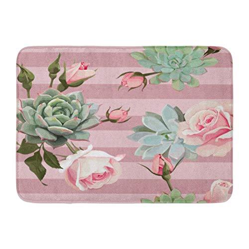 "GTdgstdsc Doormats Bath Rugs Outdoor/Indoor Door Mat Green Flower Succulents and Roses of Floral Dusty Pink Stripes Tropical Mint Bathroom Decor Rug 16"" x 24"""