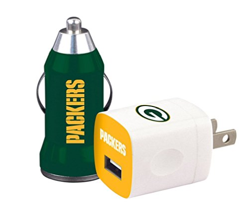 NFL Green Bay Packers USB Wall and Car Chargers (2 Chargers) Home and Away