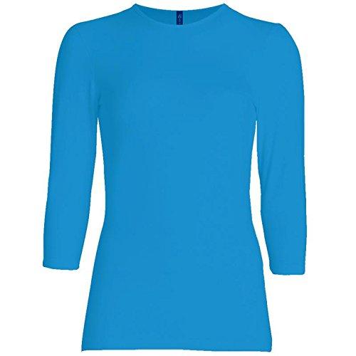 Womens 3/4 Sleeve Tee - Esteez Womens 3/4 Sleeve Shirt Relaxed FIT EX801136 Ocean Blue Medium