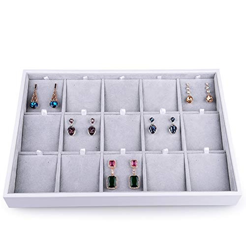 Oirlv Velvet Jewelry Organizer Trays Stackable Showcase Jewelry Display Storage Tray (15 Grids Earrings)