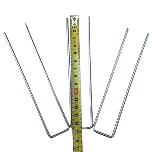 6 Inch U-Shaped Garden Landscape Staples Stakes Pins Securing Pegs Spikes Sod Staple for Securing Weed Fabric, Landscape Fabric, Netting, Ground Sheets And Fleece YLD01 (50) by QEES