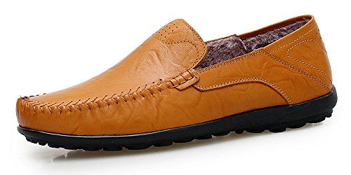 Men's With Slip Yellow Fashion Shoes Loafers Leather Genuine Driving Slipper Brown Shoes Lapens Wool Premium Casual On qABHxqd