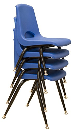 "School Stack Chairs With Steel Legs Nickel-Plated Swivel Glides 12"" Blue (6) by Learningground"