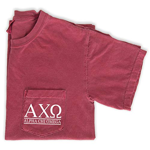 Alpha Chi Omega Block Letters Shirt | Sorority Comfort Colors Pocket Tee (Medium)