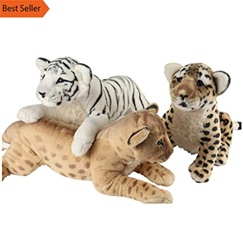 Minian 4 Styles Soft Stuffed Animals Lying Tiger Plush Toys Pillow Lion Leopard Doll Girl Toys for Children (Leopard, 40cm) -