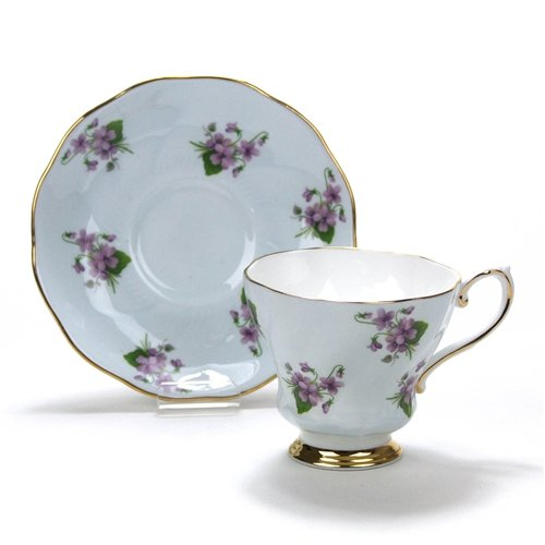 Cup & Saucer by Royal Grafton, China, Violets on Blue