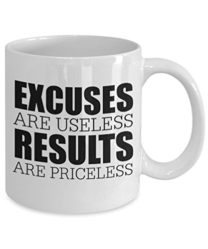 Engravedgift Excuses Are Useless Results Are Priceless - Coffee, Tea and Chocolate Mug - Makes Great Gifts & Office Party Gifts for the Holiday Season by Engravedgift