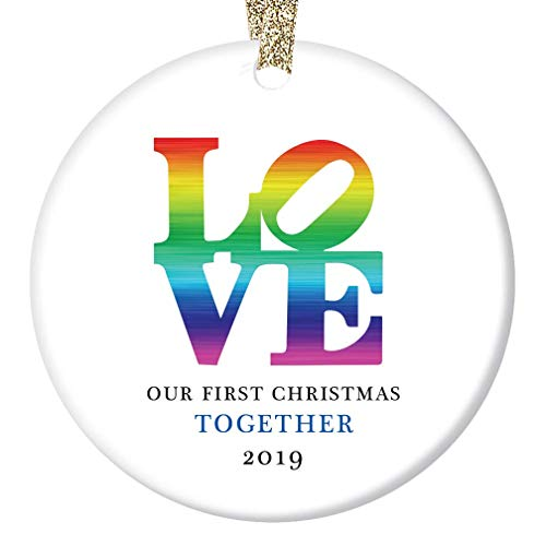 LOVE Christmas Ornament 2019 Our First Holiday Together Gifts Boyfriend Girlfriend Gay Couple Pride Partners 1st Christmas Rainbow Keepsake Present 3