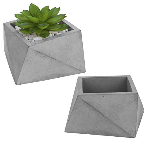 MyGift Modern Triangle-Faceted 4-Inch Gray Clay Desktop Planters, Mini Cactus Container Pots, Set of 2