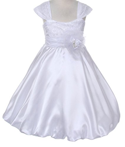 Big Girls' Flower Girls Dress Charmeuse Satin Lace Dress Bubble Hem line White Size 10 -
