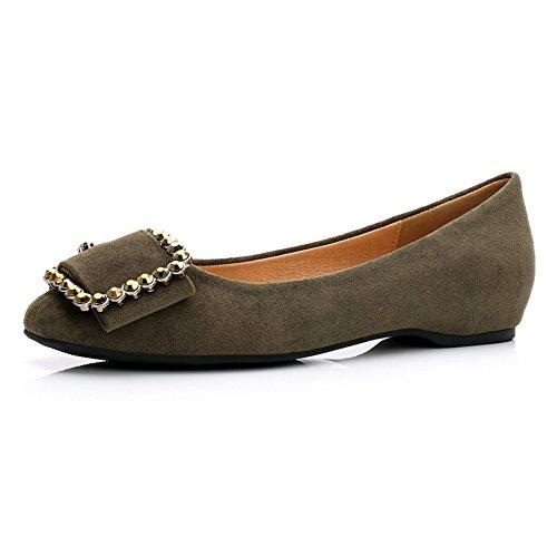 T-juillet Femmes Boucles En Daim Conduite Penny Loafers Chaussures Confort Slip Sur Casual Robe Chaussures Plates Armée Vert