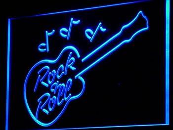 Rock and Roll Guitar Music Bar LED Sign Neon Light Sign Display i763-b(c)