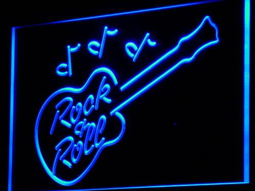 Rock and Roll Guitar Music Bar LED Sign Neon Light Sign Display - Led Sign Rolls