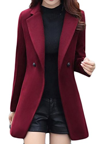 Papijam Womens Thick Winter Double Breasted Lapel Wool Blended Pea Coat Wine Red M (Petite Peacoat Wool)