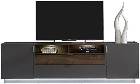 Washington – Mueble TV contemporáneo melamina gris mate y escenario Chene antigua – L 189 cm: Amazon.es: Hogar