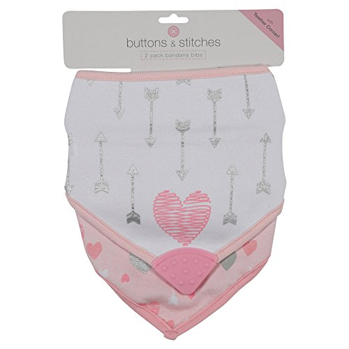 - Buttons and Stitches Girls Bandana Bib, Heart and Arrow Print, Pink, 2 Count
