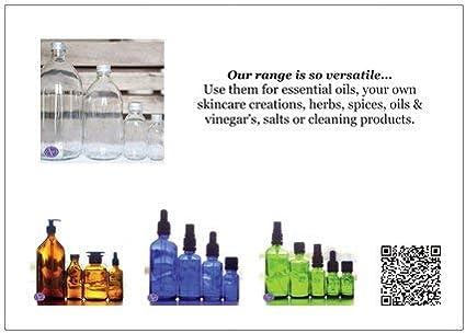 50/ml Bleu bocaux en verre avec couvercles Noir/ /Lot de 6