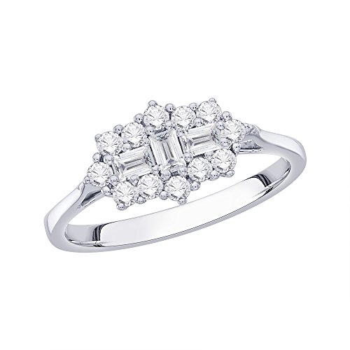 Round and Baguette Cut Diamond Engagement Ring in 14K Gold (1/2 cttw)