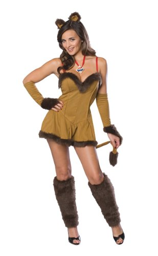Glinda Halloween Costume Wicked (Secret Wishes  Women's Wizard of Oz Cowardly Lioness Costume, Tan/Brown, Medium)